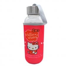 Kids Water Glass Bottle With Cartoon Pouch 300ml - Hello Kitty