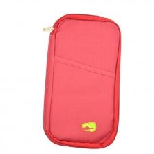 Travel Organizer Bag Pocket for Passport Cards Wallets Documents (Dark Red)