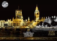 流金歲月(London倫敦)靜念‧沉澱刮刮畫(內附金色刮刮畫2張(印刷城市圖1張+無圖案1張)+靜念‧沉澱著色畫1張+木質刮畫棒1支))