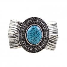 Vintage Silver & Blue Color Stone Alloy Bracelet 6.2cm - BC154 Blue