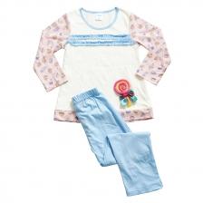 IGGI Girl's Fashion Knit Pyjamas L/Sleeve With Solid Colour Long Pant 1