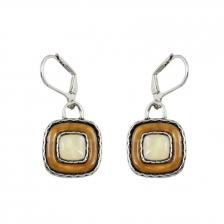 Light Brown & White Color Square Alloy Earrings 4.1cm - ER215