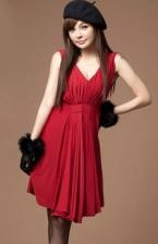 Fashion V Neck Layer Dress