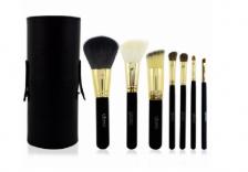 7 pcs Makeup Brushes PU Vegan Leather Tube Canister Cylinder Case Holder - BLACK