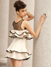 Fashion European Stylish Layered Design Sleeveless Mini Dress