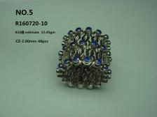 Fine 925 Silver Setting Blue Zircon Ring Transform to Bangle ( Code No R160720-10 )