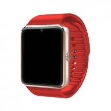 GT08 Touch Screen Sim Card Smart Watch Phone ( Rose Gold Case Red Belt )