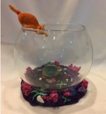 AQUARIUM FISH TANK clear glass with glow in the dark base desk decor goldfish bowl