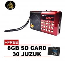 Radio With Al Quran 30 Juzuk JOC Rechargeable USB and microSD 8gb Slot Mini Digital MP3 Player FM(Red)
