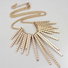 Textured Gold Tassel Short Necklace -NL16