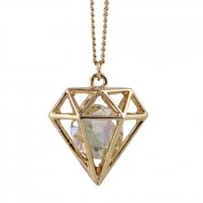 Pictograms Hollow Diamond Long Necklace - NL77