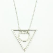 Color Triangle & Round Shape Pendant Alloy Necklace 78cm - NL329