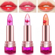 3 Colors Jelly Flower Lipstick Temperature Color Changing Lip Gloss Balm Moisturizing Nonstick