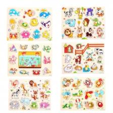 1 Set 6 pcs Preschool Educational Wood Puzzle - Animal & Insect -BKM37