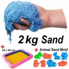 Kinetic Play Sand - Blue (2kg + Sand Tray + Sand Mold)