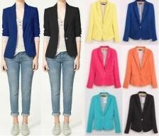 Zara Inspired Stripe Lining Roll-Up Cuffs Candy Blazer Jacket