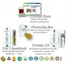Cellglo Full Set 5 in 1 (100% Halal) Crystal Eyes , Creme 21, Blanc Pur , DCB , Sunblock