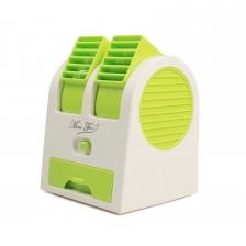 Mini Small USB Fan Cooling Portable Desktop Dual Head Bladeless Air Conditioner (Green)