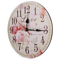 DECORATIVE SILENT ROUND VINTAGE WOODEN WALL CLOCK PEONY DESIGN