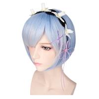 35CM RAM REM COSPLAY WIGS SHORT HEAT RESISTANT BOB HAIR ZERO KARA HAJIMERU ISEKAI SEIKATSU WITH ADORNMENT (LIGHT BLUE)
