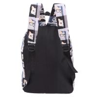 PREPPY STYLE GIRL GRAFFITI PRINT CANVAS TRAVEL SHOPPING PORTABLE BAG HANDBAG TOTE SCHOOL BACKPACK (BLACK AND GRAY)