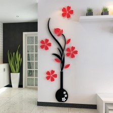 House/ Office 3D Sticker Wall Decoration (Flower with Vase) (XL)