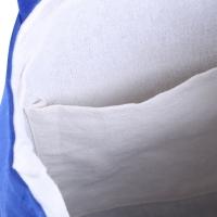 SOLID COLOR OPEN CANVAS COTTON HANDCRAFT THICK PORTABLE SHOULDER BAG FOR WOMEN (BLUE)