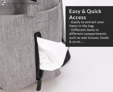 Princeton Prestige Series Mommy Diaper Bag - Grey (FREE GIFT worth RM 20)
