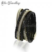 Braided Crystal Bracelet (Black)