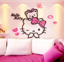 Hello Kitty & Teddy Bear 3D wall Sticker Acrylic Material (Pink) (XL)