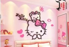 Hello Kitty & Teddy Bear 3D wall Sticker Acrylic Material (Pink) (XXL)