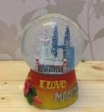 85mm Snow Globe Twin Tower KL Malaysia, Orange Base, Colored Landmarks