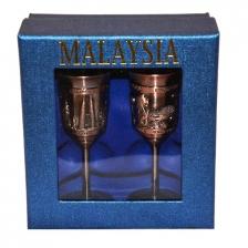 Malaysia Singapore Twin Mini Goblet Copper Souvenir Gift Decoration