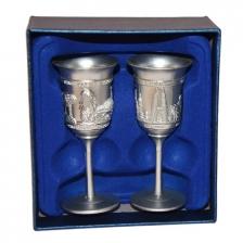 Malaysia Singapore Twin Mini Goblet Silver Souvenir Gift Decoration