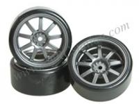 1/10 9 Spoke Wheel & Tyre Set For Drift(5mm Offset) -4pcs #WH-24/GY