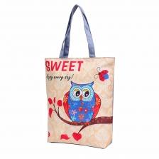 TOTE BAG CANVAS OWL PRINTED