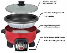 Digilife A-HS10 Electric Multifunction Non-Stick Frying Pan Frying/Cooker/Pot/Steamer