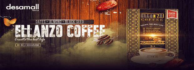 ELLANZO White Coffee Premix With Sunnah Food & Nano Sugar (0 Calories) 25g x 15 sachets